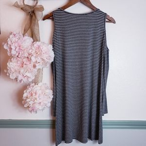 Promesa Dresses - Cold Shoulder Pinned Stripped Dress not Small